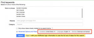 Google keyword tool options