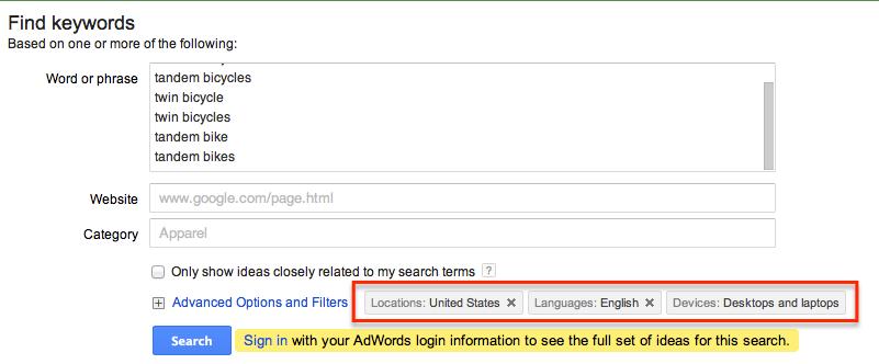 Google keyword tool options