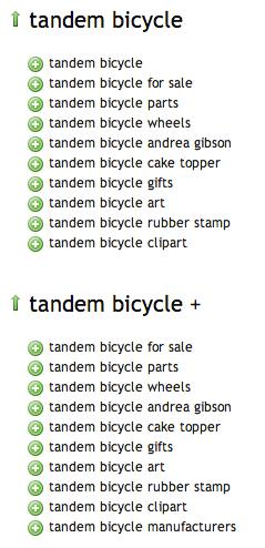 Ubersuggest tandem bicycle